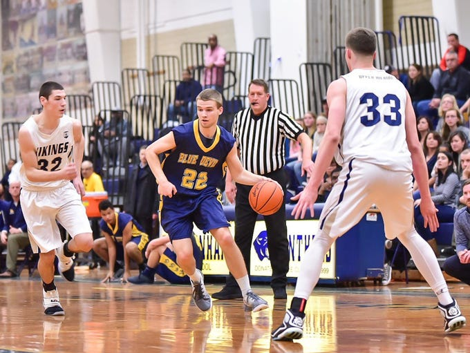Greencastle-Antrim's Casey Hoover (22) had seven points