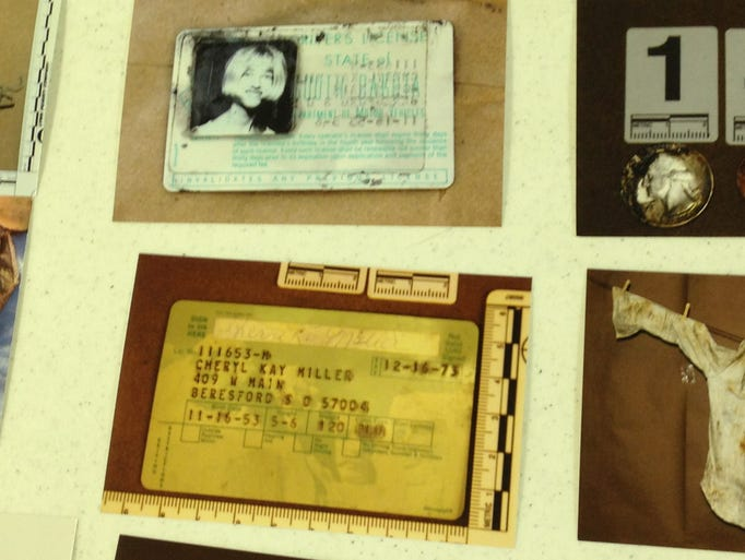 Driver's licenses found inside the Studebaker are shown.