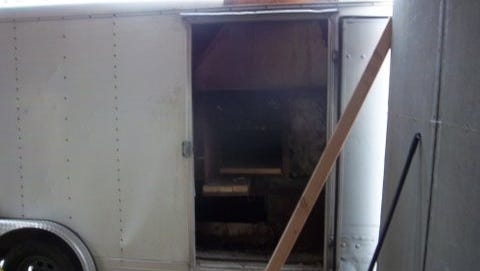 Matzoh oven inside trailer at 33 Forshay Road, Ramapo.