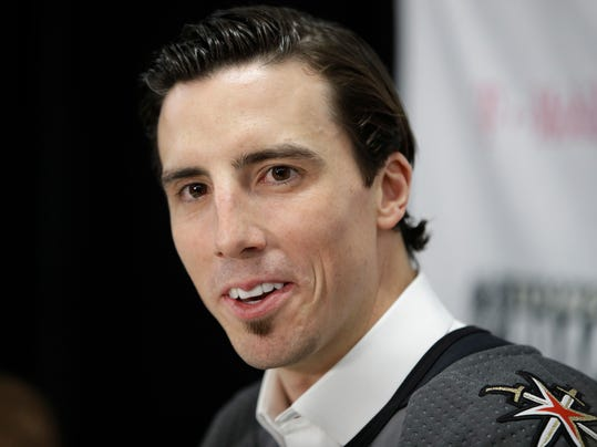 Vegas Golden Knights' Marc-Andre Fleury speaks with the media Wednesday, June 21, 2017, in Las Vegas. Fleury was picked by the team in the NHL hockey expansion draft. (AP Photo/John Locher)