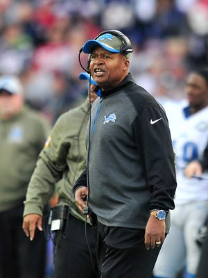 Lions head coach Jim Caldwell yells on the sidelines late in the blowout loss to the Patriots.