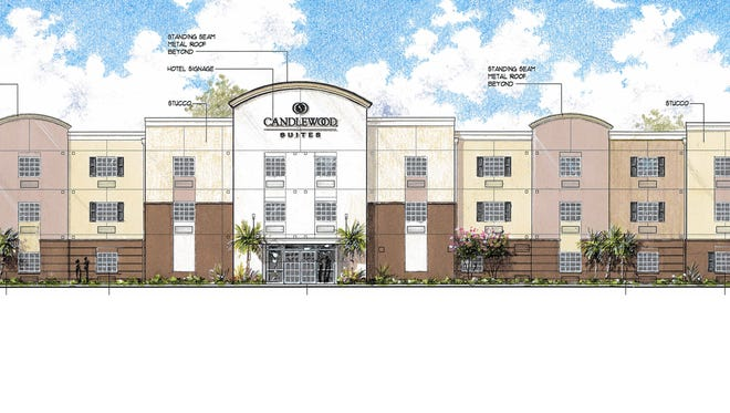 An artist's rendering of the proposed 77-room Candlewood Suites hotel on Okeechobee Road near Florida's Turnpike in Fort Pierce.