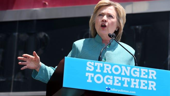 Hillary Clinton speaks on July 6, 2016, in Atlantic City, N.J.