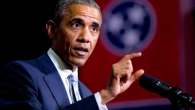 President Barack Obama speaking at Pellissippi State Community College, in Knoxville, Tenn.