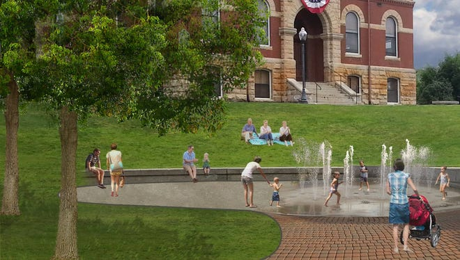 A rendering of the proposed splash pad in downtown Howell.
