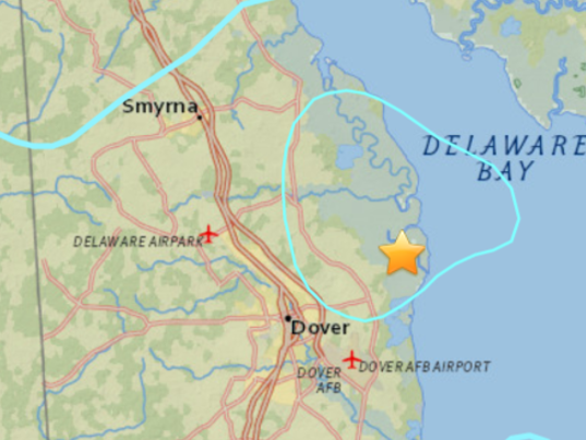 USGS Delaware Wins US Earthquake Contest For Thursday - Earthquake map us