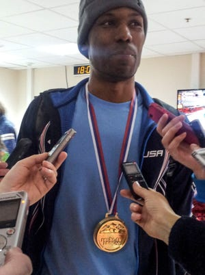 American Shani Davis where a chocolate gold medal given to him by a fan, small consolation for an 0-for-Sochi effort by the speedskaters.