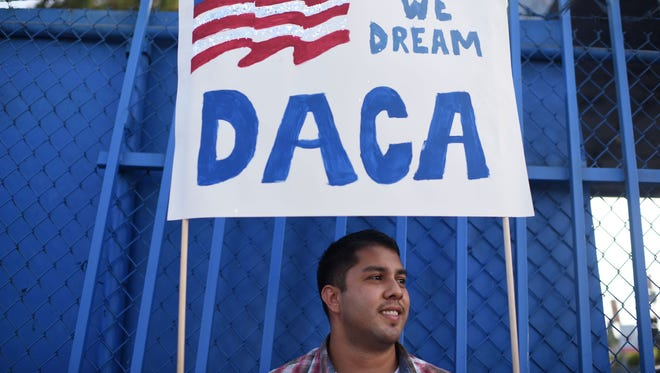 DACA recipient and appliance repair business owner Erick Marquez during a protest in support of the Deferred Action for Childhood Arrivals in Los Angeles.
