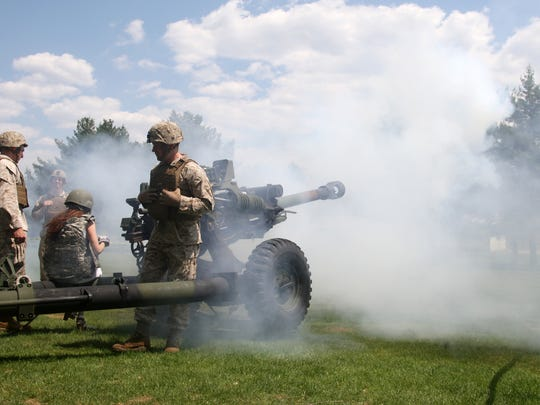 An M777A2 Howitzer is fired during the Picatinny Arsenal Media Day.