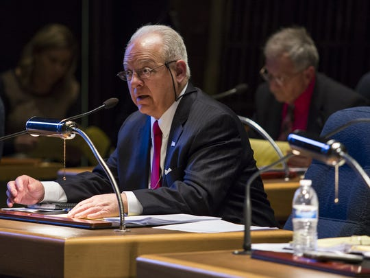 County Councilman Bob Weiner speaks during a County Council meeting on Tuesday night.