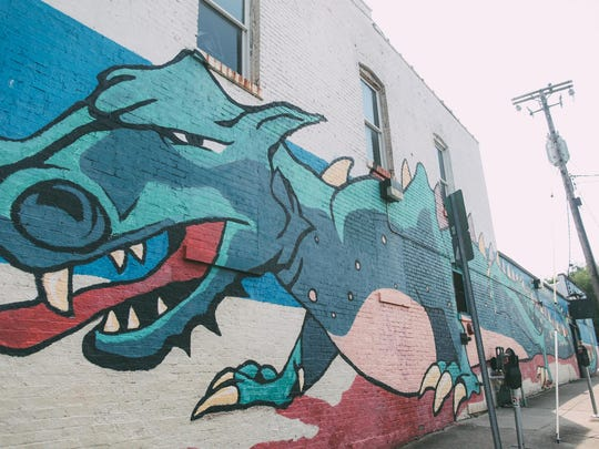 The Dragon Mural in Hillsboro Village is one of many interesting murals around Nashville.