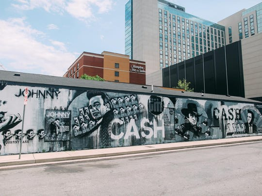 Wall of Cash — Johnny Cash Mural; artists: Thoughts Manifested Crew