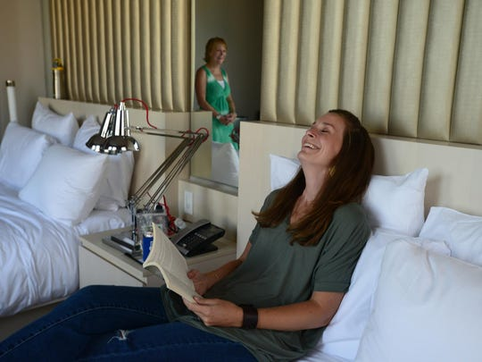 After some tests and a CT scan at Duke University Hospital, Lindsey Motley and her mother spend time at their Durham, N.C., hotel before dinner.