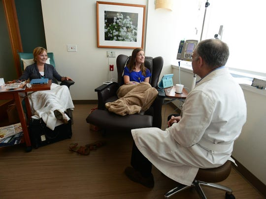 Dr. Herbert Hurwitz check on Lindsey Motley during her infusion at Duke University Cancer Center on Wednesday.