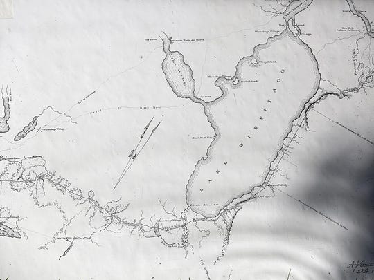 A map dating back to the 1830s shows the location in Fond du Lac County of Military Road, the first road to cross the state, as well as trails and lakes.