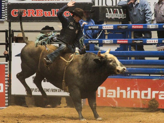Corey Bailey rides Little Shyster during the CBR Bud Light Bull Riding Classic at Oman Arena in Jackson in this January file photo.