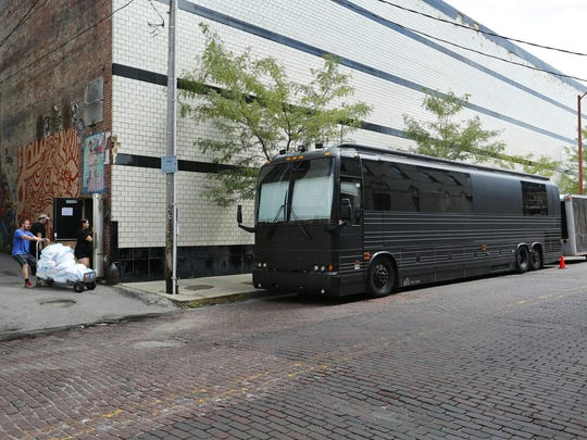 Tour buses lining Sixth Street on the side of Lafayette Theater are becoming a more common sight nowadays as Pientok and Flack book more national acts. This one belonged to Aaron Lewis.