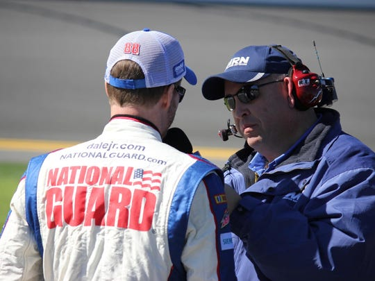 Motor Racing Network's Mike Bagley of Milford interviews Dale Earnhardt Jr.