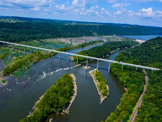 Norman Wood Bridge and Holtwood Dam on the Susquehanna River, Wednesday August 12, 2015. John A. Pavoncello - jpavoncello@yorkdispatch.com