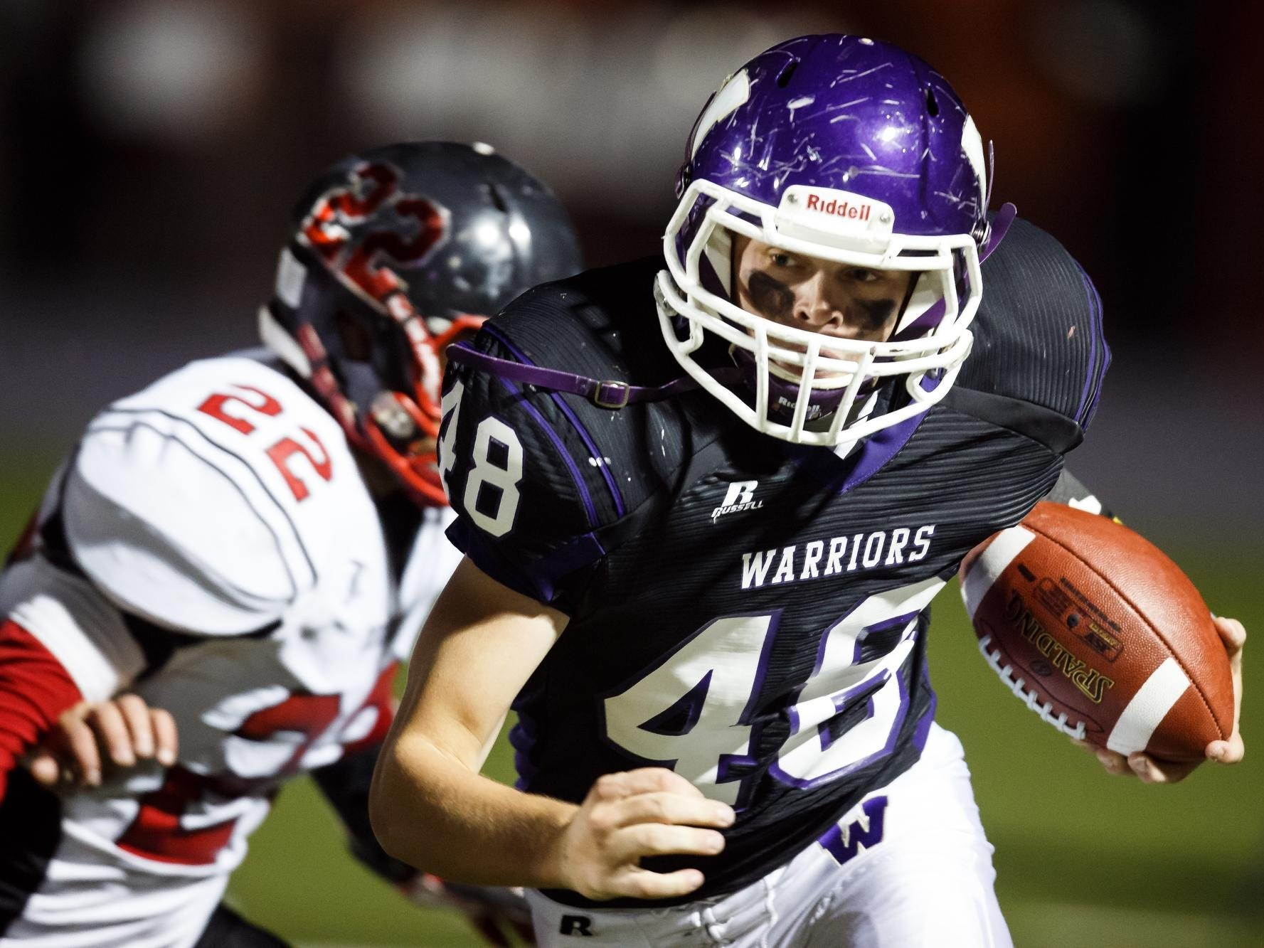 Waukee's Jordan Yaukovitz tries to get out of the end zone after a fumbled snap against Fort Dodge in Waukee on Friday.