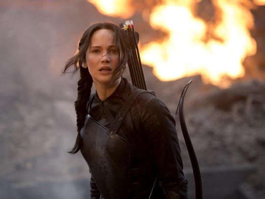"Jennifer Lawrence stars as Katniss Everdeen in the movie ""The Hunger Games: Mockingjay Part 1,"" now available on Amazon Prime Video."