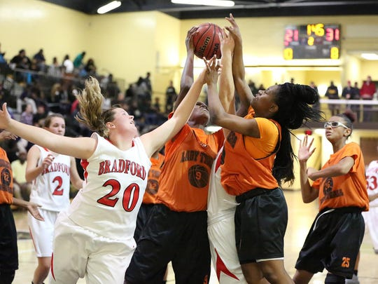 There was a rebound war between Bradford's Libby Sharp and several Middleton players Saturday at Trenton Peabody.