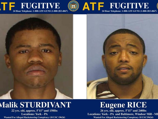 Authorities are looking for Malik Sturdivant, left, and Eugene Rice on racketeering charges.