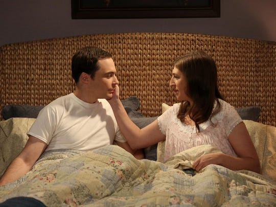 """Jim Parsons portrays Sheldon, and Mayim Bialik appears as Amy, in a scene from """"The Big Bang Theory."""""""