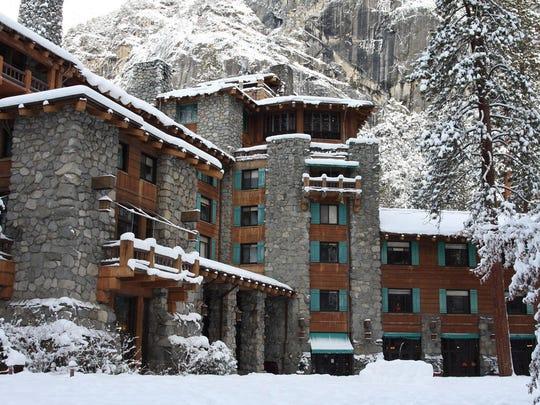 Yosemite National Park's Ahwahnee Lodge in winter.