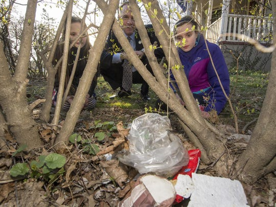 (L-R) Kira Kristoff, 8, of Randolph, Randolph Mayor Roman B. Hirniak and Kira's sister Maya, 10, investigate some litter caught in the hedge by the girl's home.