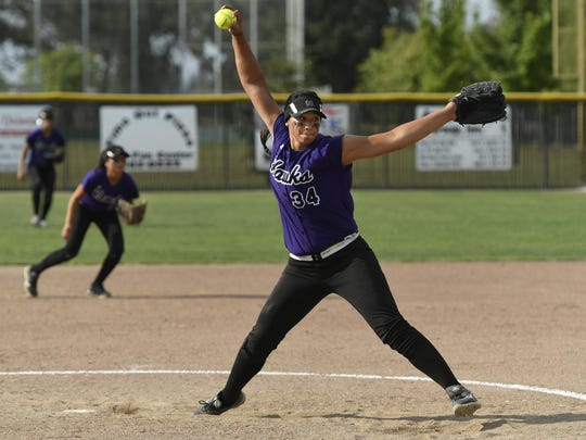 Mission Oak's Mariah Mazon threw a complete game, allowing one run in the Division IV Central Section softball championship on Saturday against No. 1 Selma. The Hawks won 4-1 and repeated as Valley champions.