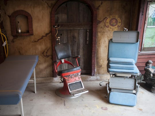 A collection of old doctor and dentist equipment on the back patio at Missouri Breaks Brewing in Wolf Point.