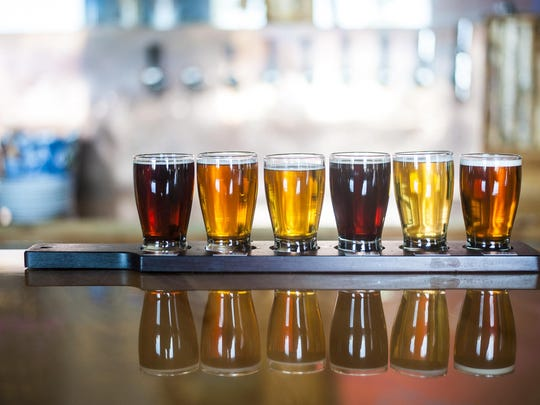 A flight of beers at Black Eagle Brewery, which is taking part in the Beer & Gear Festival.