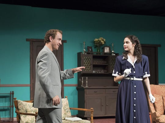 "Michael Seitz, left, and Leiana Petlewski rehearse a scene from Visalia Players production of the comedy ""Arsenic and Old Lace."""