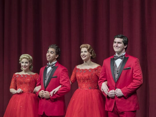 """Kayla Seffing, left, Jonathan Jones, Jordyn White and Jack O'Leary in College of the Sequoias' production of """"White Christmas."""""""