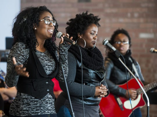 Left to right, Jazmyn, Rozlyn and Quinta Steele of UnTapp3D perform during the Martin Luther King, Jr. Day celebration at the University of Great Falls Monday.