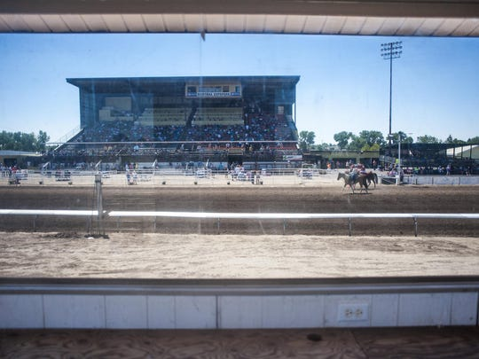 Horses warm up on the track at Montana ExpoPark last Sunday during the State Fair Race Meet. The meet continues Friday afternoon at 4 in conjunction with the opening of the Montana State Fair.