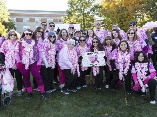 """Participants in the annual 5K Walk for """"Making Strides Against Breast Cancer."""" The 2017 walk takes place Oct. 15 at Manhattantville College."""