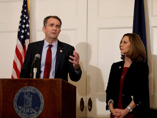 Virginia Gov. Ralph Northam, with his wife Pam at his side, said at a news conference in the Executive Mansion on Feb. 2, 2019, in Richmond, Va.