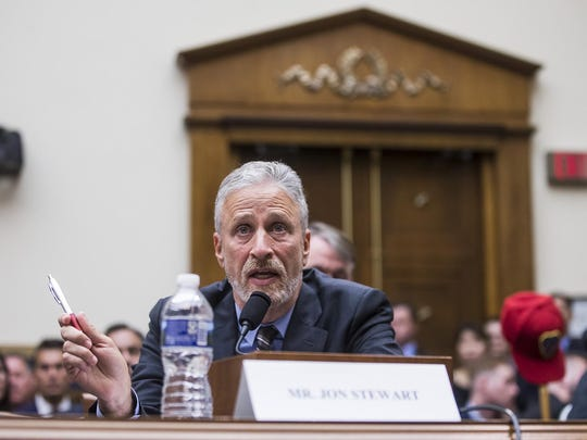 "Former ""Daily Show"" host Jon Stewart testifies during a House Judiciary Committee hearing on reauthorization of the September 11th Victim Compensation Fund on Capitol Hill in Washington, D.C., on Tuesday, June 11, 2019. The fund provides financial assistance to responders, victims and their families who require medical care related to health issues they suffered in the aftermath of 9/11 terrorist attacks. (Zach Gibson/Getty Images/TNS) **FOR USE WITH THIS STORY ONLY**"