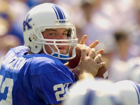In this Sept. 7, 2002, file photo, Kentucky quarterback Jared Lorenzen looks downfield for a receiver during the first half of the team's NCAA college football game against UTEP in Lexington, Ky.