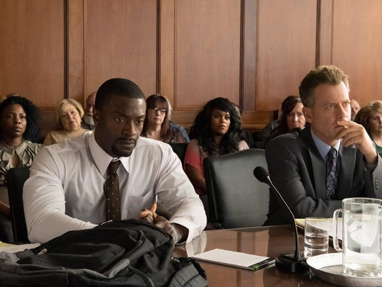"""Aldis Hodge, left, as Brian Banks and Greg Kinnear as Justin Brooks in """"Brian Banks."""""""