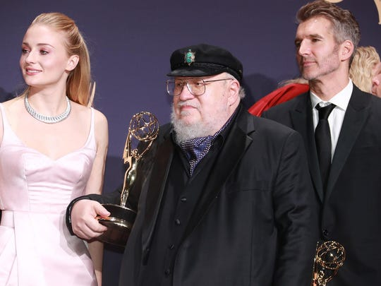 Sophie Turner, left, and George R.R. Martin backstage at the 71st Primetime Emmy Awards at the Microsoft Theater in Los Angeles on Sunday, Sept. 22, 2019. (Allen J. Schaben/Los Angeles Times/TNS)