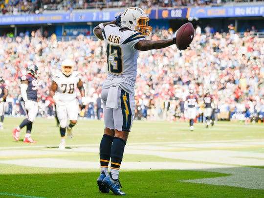 Sep 22, 2019; Carson, CA, USA; Los Angeles Chargers wide receiver Keenan Allen (13) celebrates his touchdown during the first half against the Houston Texans at Dignity Health Sports Park. Mandatory Credit: Kelvin Kuo-USA TODAY Sports