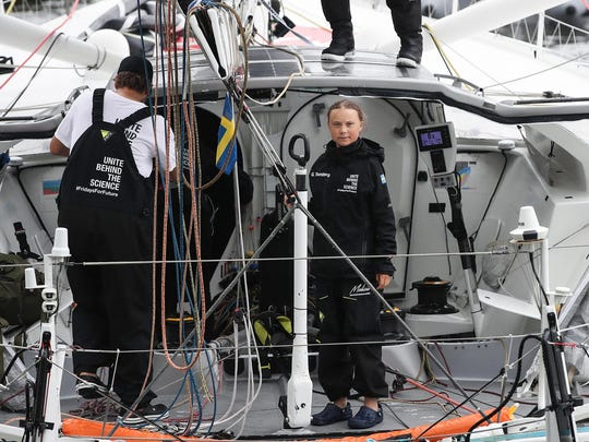 Swedish climate activist Greta Thunberg arrives in the U.S. after a 15-day journey crossing the Atlantic in the Malizia II, a zero-carbon yacht, in New York City on Aug. 28, 2019.