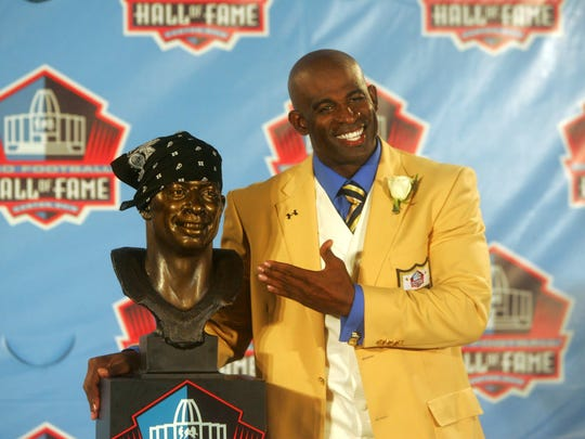 Deion Sanders, a native of Fort Myers and graduate of North Fort Myers High School, is bringing a team to the City of Palms Classic. the news-press file photo Deion Sanders, a native of Fort Myers and graduate of North Fort Myers High School, celebrates after being enshrined into the Pro Football Hall of Fame in Canton, Ohio on Saturday August 6, 2011.