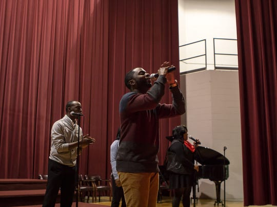 The Wesley Johnson Ensemble leads the praise and worship Monday evening during the World AIDS Day gospel musical in the Chambers-McClure Chapel at Lane College.