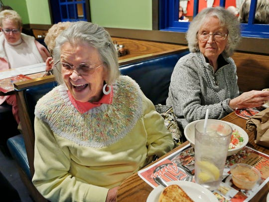 Judy Skees laughs Monday, February 9, 2015, as she recounts how long she has been a regular customer at Arni's in Market Square. Skees, who was enjoying lunch with her sister, Shirley Johnston, right, said she has been an Arni's regular for nearly 50 years. Arni's is celebrating its 50th anniversary.