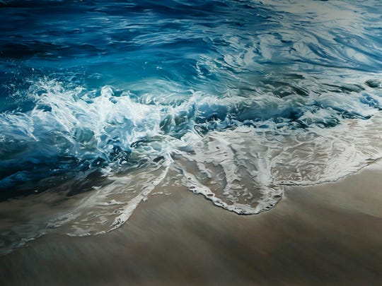 """A soft pastel on paper piece by artist Zaria Forman, titled """"Maldives #11,"""" is part of the exhibit """"Changing Landscapes"""" on Tuesday at the Robert L. Ringel Gallery inside Stewart Center on the Purdue campus."""