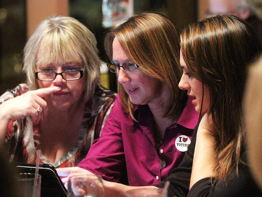 Marion County Developmental Disabilities superintendent Cheryl Plaster, center, watches results in this file photo.  The board has had to make staffing cuts and will seek additional money from voters this spring.